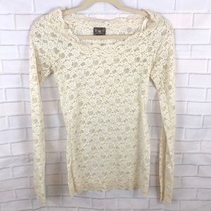 Free People Intimately Cream Lace Top